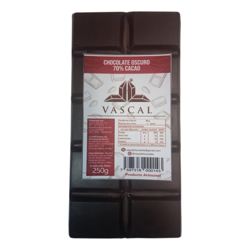 Chocolate Oscuro 70% Cacao