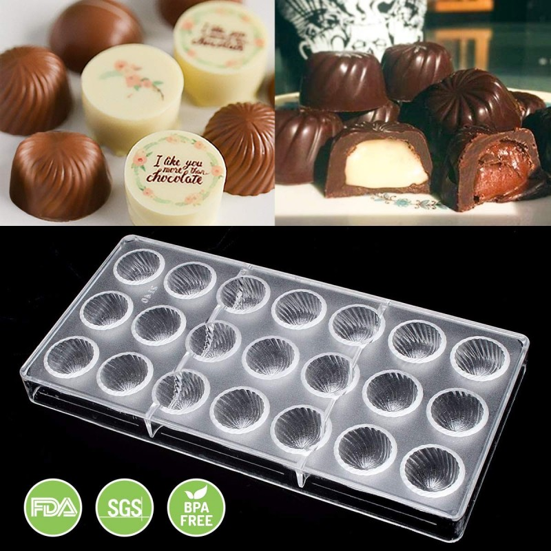 Jeteven Chocolate Mold, Candy Molds Bon Bon Molds, Polycarbonate Chocolate Mould-21 Cavities